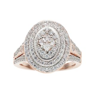 10k Rose Gold 1 Carat T.W. Diamond Double Oval Halo Ring