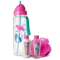 Girls Mermaid Water Bottle, Shower Getl, Lotion & Loofah Set