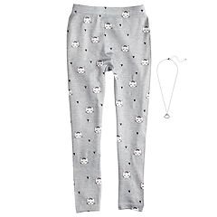 Girls 4-14 Kitty Cat Fleece-Lined Leggings with Necklace