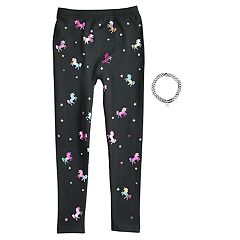 Girls 4-14 Unicorn Fleece-Lined Leggings with Necklace