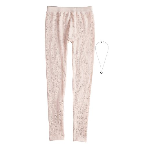 Girls 4-14 Foil Spray Fleece-Lined Leggings with Necklace
