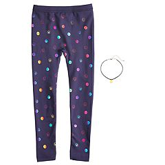 Girls 4-14 Smiley Face Fleece-Lined Leggings with Necklace