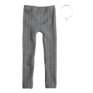 Girls 4-16 Cable-Knie Fleece-Lined Seamless Leggings with Necklace