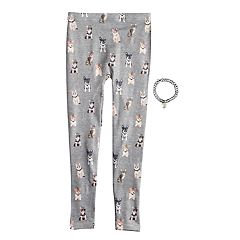 Girls 4-14 Dog & Cat Print Fleece-Lined Seamless Leggings with Choker Necklace