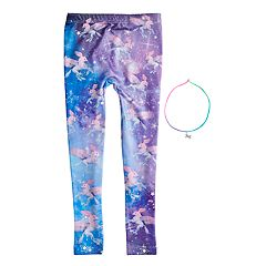 Girls 4-14 Celestial Unicorn Fleece-Lined Seamless Leggings with Necklace