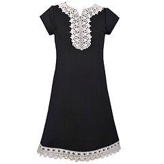 Girls 7-16 Bonnie Jean Knit Venise Yoke Shift Dress