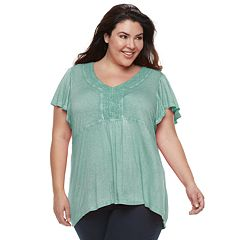 Plus Size World Unity Crochet-Trim Flutter Top