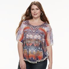 Plus Size World Unity Printed Tassel Poncho Top