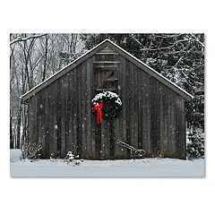 Trademark Fine Art Christmas Barn In The Snow Canvas Wall Art