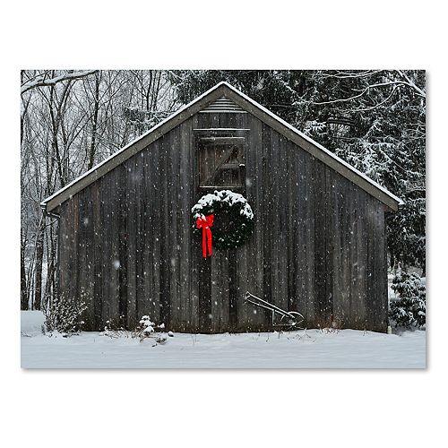 Trademark Fine Art Christmas Barn In The Snow Canvas Wall Art