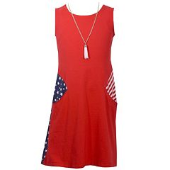 Girls 7-16 Bonnie Jean Stars & Stripes Americana Shift Dress with Necklace