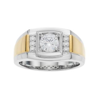 Men's Two Tone Sterling Silver Cubic Zirconia Ring