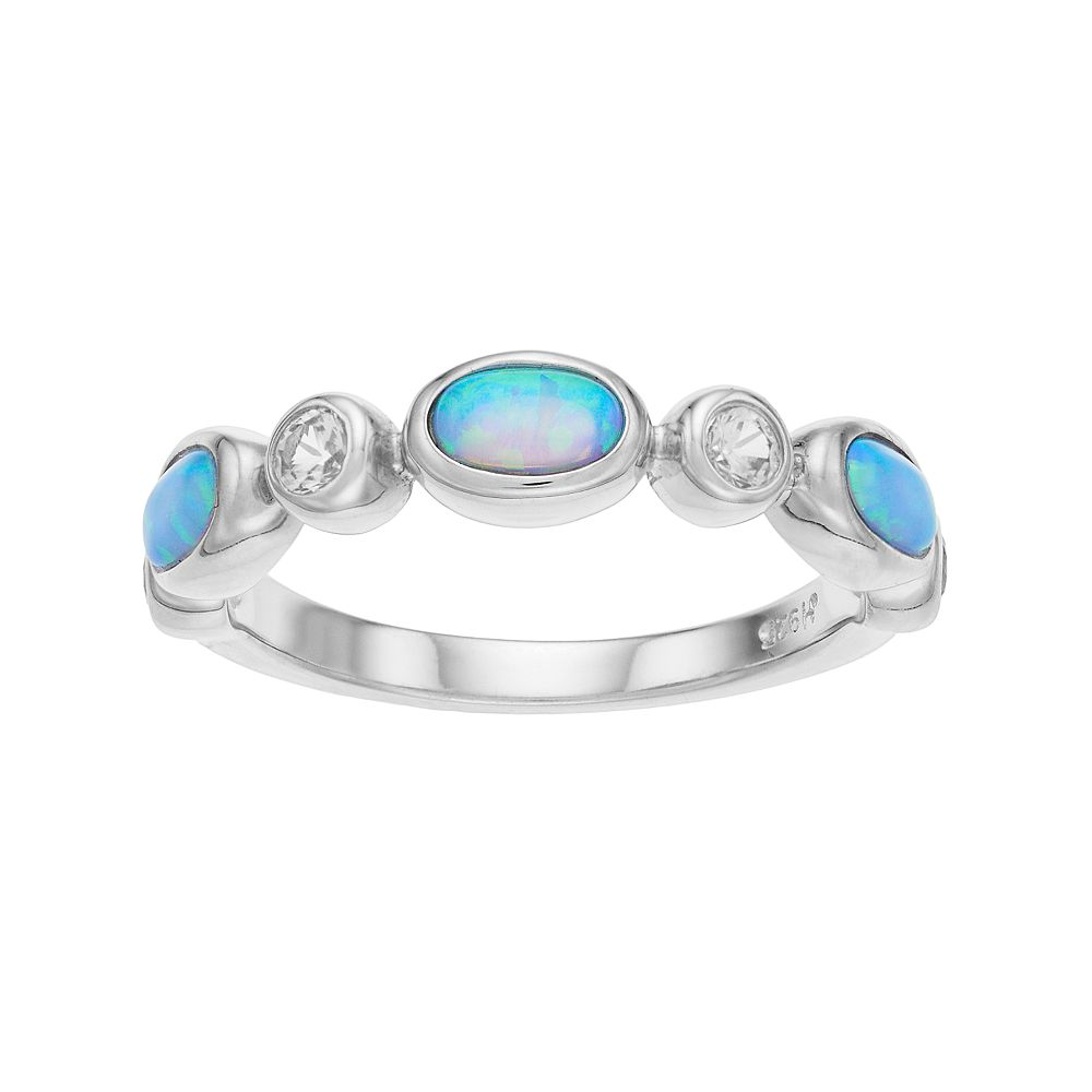 Sterling Silver Lab-Created Blue Opal & Lab-Created White Sapphire Ring