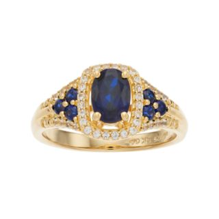 14k Gold Over Silver Lab-Created Blue & White Sapphire Oval Halo Ring