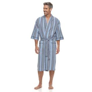 Big & Tall Residence Summer Shells Striped Seersucker Kimono Robe