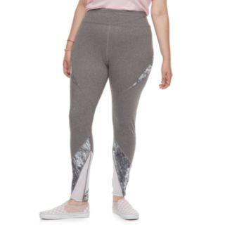Juniors' Plus Size SO® Tie-Dye Colorblock Mesh Spliced Leggings