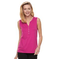 Women's Croft & Barrow® Sleeveless Henley Top