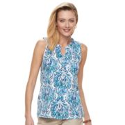 Women's Croft & Barrow® Sleeveless Henley Top
