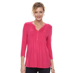 Women's Croft & Barrow® Pleated Henley Top