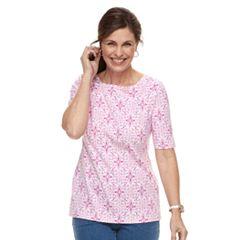 Women's Croft & Barrow® Print Button-Hem Squareneck Top