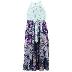 Girls 7-16 Speechless Lace Bodice Floral Walk-Through Maxi Romper
