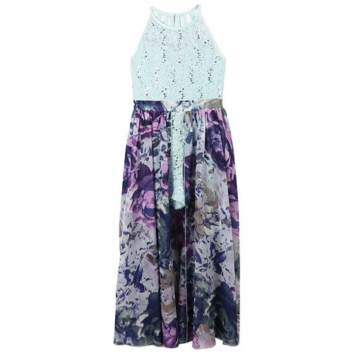 b921e05c0c76 Girls 7-16 Speechless Lace Bodice Floral Walk-Through Maxi Romper