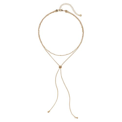 LC Lauren Conrad Layered Ball Chain Y Necklace