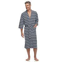Men's Residence Striped Jersey Knit Kimono Robe