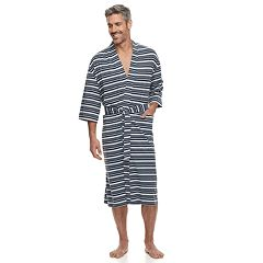 Men's Residence Striped Jersey Knit Kimono Robe