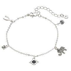 LC Lauren Conrad Silver Tone Elephant Cubic Zirconia Lucky Charm Bracelet