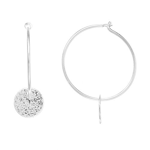 LC Lauren Conrad Textured Disc Nickel Free Hoop Earrings