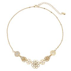 LC Lauren Conrad Simulated Crystal Flower & Filigree Necklace