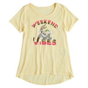 """Girls 7-16 Bugs Bunny """"Weekend Vibes"""" Graphic Tee"""