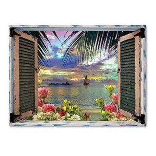 Trademark Fine Art Tropical Window To Paradise III Canvas Wall Art