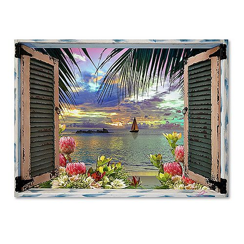 Trademark Fine Art Tropical Window To Paradise III Canvas Wall Art