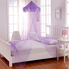 Casablanca Kids Pom Pom Sheer Collapsible Hoop Bed Canopy