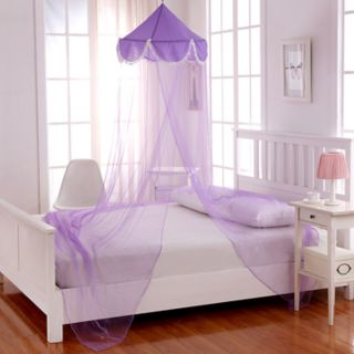 Casablanca Kids Pom Pom Sheer Collapsible Hoop Bed Canopy
