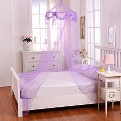 Casablanca Kids Buttons & Bows Sheer Collapsible Hoop Bed Canopy