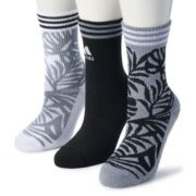 Women's adidas 3-Pack Palm Print Cushioned Crew Socks
