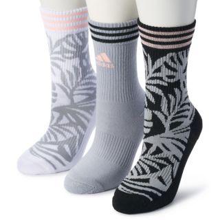 Women's adidas 3-Pack Palm Print Cushioned Crew Socks