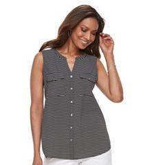 Women's Croft & Barrow® Sleeveless Henley Shirt