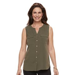 Women's Croft & Barrow® Sleeveless Henley Shirt