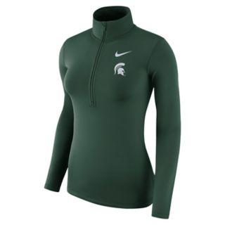 Women's Nike Michigan State Spartans 1/2-Zip Dri-FIT Pullover Top