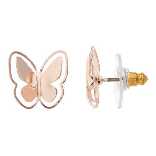 LC Lauren Conrad Butterfly Nickel Free Button Stud Earrings