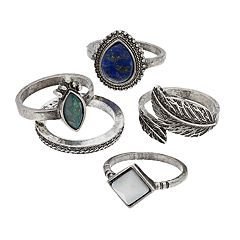 Mudd® Silver Tone Simulated Crystal Vintage Style Ring Set