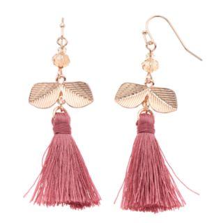 LC Lauren Conrad Leaf Nickel Free Pink Tassel Drop Earrings