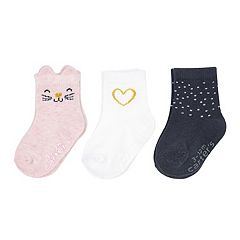 Baby Girl Carter's 3-pack Cat & Heart Crew Socks