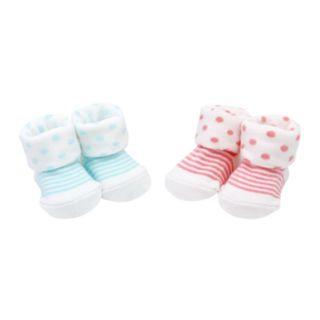 Baby Girl Carter's 2-pack Polka-Dot & Striped Keepsake Booties