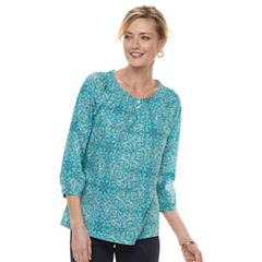 Women's Croft & Barrow® Smocked Peasant Top