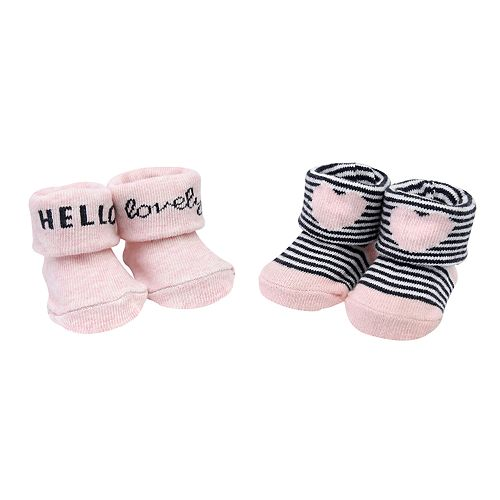 "Baby Girl Carter's 2-pack ""Hello Lovely"" Heart Keepsake Booties"